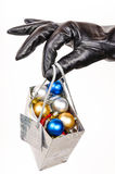 Gift bag full of Christmas decorations Stock Images