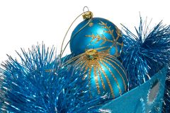 Gift bag full of christmas toys. Gift bag full of blue christmas toys Stock Photography