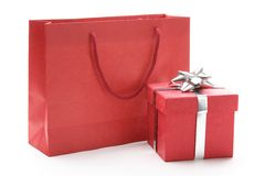 Gift bag and gift box Royalty Free Stock Images