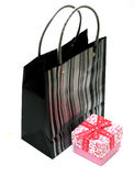 Gift Bag and Gift Box. A gift shopping bag and gift box Royalty Free Stock Photo