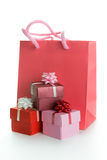 Gift bag with gift boxes Royalty Free Stock Photo