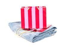 Gift Bag with Jeans Royalty Free Stock Photo