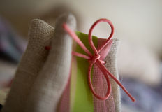 Gift bag. Little gift bag made in cloth material Royalty Free Stock Photography