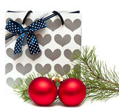 Gift bag and New Year's balls Stock Image