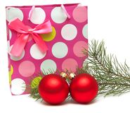 Gift bag and New Year's balls Royalty Free Stock Images
