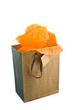 Gift Bag With Orange Paper royalty free stock photo