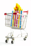 Gift bag in a shopping cart Stock Photography