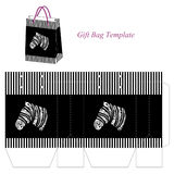 Gift bag template with black and white stripes and abstract zebra Stock Photos