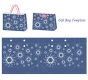 Gift bag template with white abstract flowers Royalty Free Stock Images