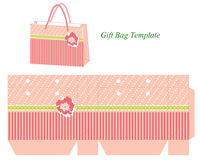 Gift Bag Template With Stripes And Flower Royalty Free Stock Image