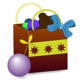 Gift bag vector with toys Stock Photography