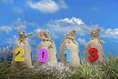 Gift bags with 2013 digits Royalty Free Stock Images