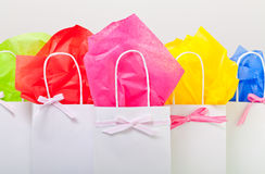 Gift bags for any occasion. Gift bags in colorful decor ready for any occasion Royalty Free Stock Photo