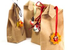 Gift bags with decorations Royalty Free Stock Photo