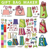 Gift bags maker.Colorful Doodle set. Gift bags  maker,constructor.Set of colorful gift boxes with label,tag. Hand drawing style.You can quickly make a box,bag Stock Photo