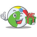 With gift ball character cartoon style Royalty Free Stock Photography