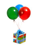Gift with ballons royalty free stock photography