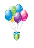 Gift balloon. Fly gift for special day Stock Photography