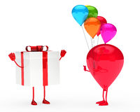 Gift and balloon figure. On white background Stock Photos