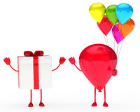 Gift and balloon figure. Gift box and balloon figure wave hands Royalty Free Stock Image