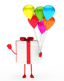 Gift and balloons Stock Photos