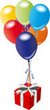 Gift and balloons Royalty Free Stock Photo