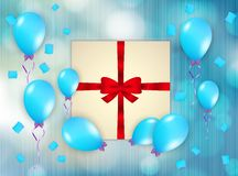 Gift and balloons Stock Photography