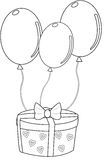 Gift with balloons coloring page Royalty Free Stock Image