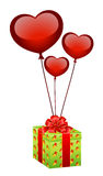 gift with balloons in form hearts Stock Photos