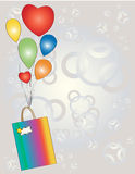 Gift with balloons. Royalty Free Stock Photo
