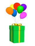Gift and baloons 3d cartoon Royalty Free Stock Images
