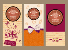 Gift banner for master classes in needlework. Ball of yarn in th. E form of heart and knitting needles. Hand drawn vector logo. Knit and Crochet Royalty Free Stock Image