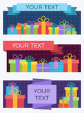 Gift banners. Set of flat style banners with gift boxes Stock Image