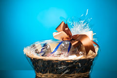 Gift in a basket Royalty Free Stock Photography