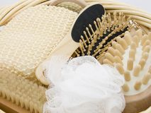 Gift Basket. A gift basket full of luxury body care items Stock Photos