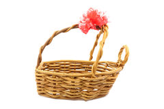 Gift basket with empty space and red ribbon tagged on white back Royalty Free Stock Photos