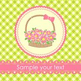 Gift basket with flowers. Royalty Free Stock Image