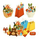 Gift basket with food, special occasion to celebrate. Vector. Packages with plush bear toy, alcohol bottles, champagne and wine. Chocolate and sweets, candies stock illustration