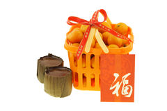 Gift basket of mandarin oranges and rice cakes Royalty Free Stock Photos