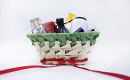 Gift basket on March 8, Valentine`s Day. Cosmetics as a gift for the girl stock photos