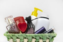 Gift basket on March 8, Valentine`s Day. Cosmetics as a gift for the girl stock image