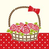 Gift basket with roses. Royalty Free Stock Photos