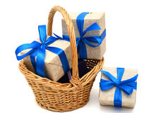 Gift in basket Stock Image
