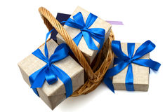 Gift with basket Stock Photos