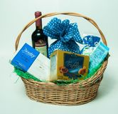 Gift basket - wine, chocolat, cake. Gift basket for your family or working parteners Stock Image