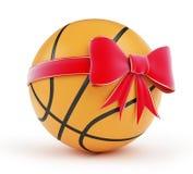 Gift basketball. Ball on a white background Stock Photos