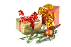 Gift and baubles isolated Stock Photos