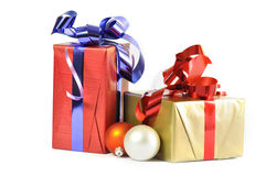 Gift and baubles isolated Royalty Free Stock Photos