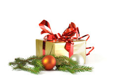 Gift and baubles isolated Stock Photo