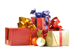 Gift and baubles isolated Stock Images